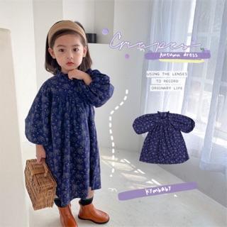 Đầm baby doll tay áo phồng hoa xanh cho bé D384