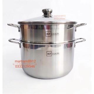 Bộ nồi xửng hấp 28cm/30cm (28 cm/30 cm) thương hiệu HT Cook dùng được bếp điện từ.