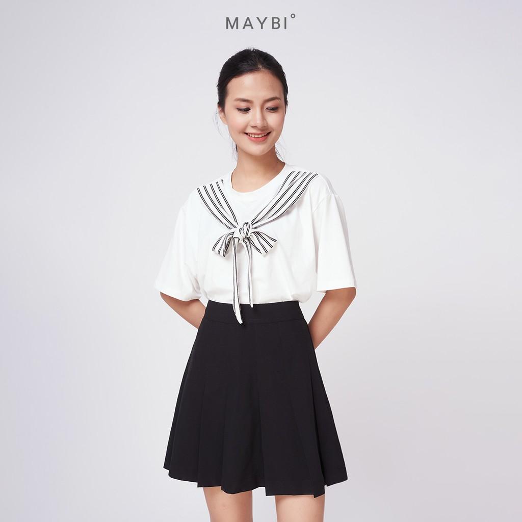 MAYBI - Váy đen xếp ly Pleated skirt