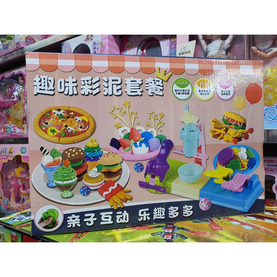 Hộp đồ chơi Đất nặn có nhiều khuôn làm bánh, đa dạng về màu sắc A288-19