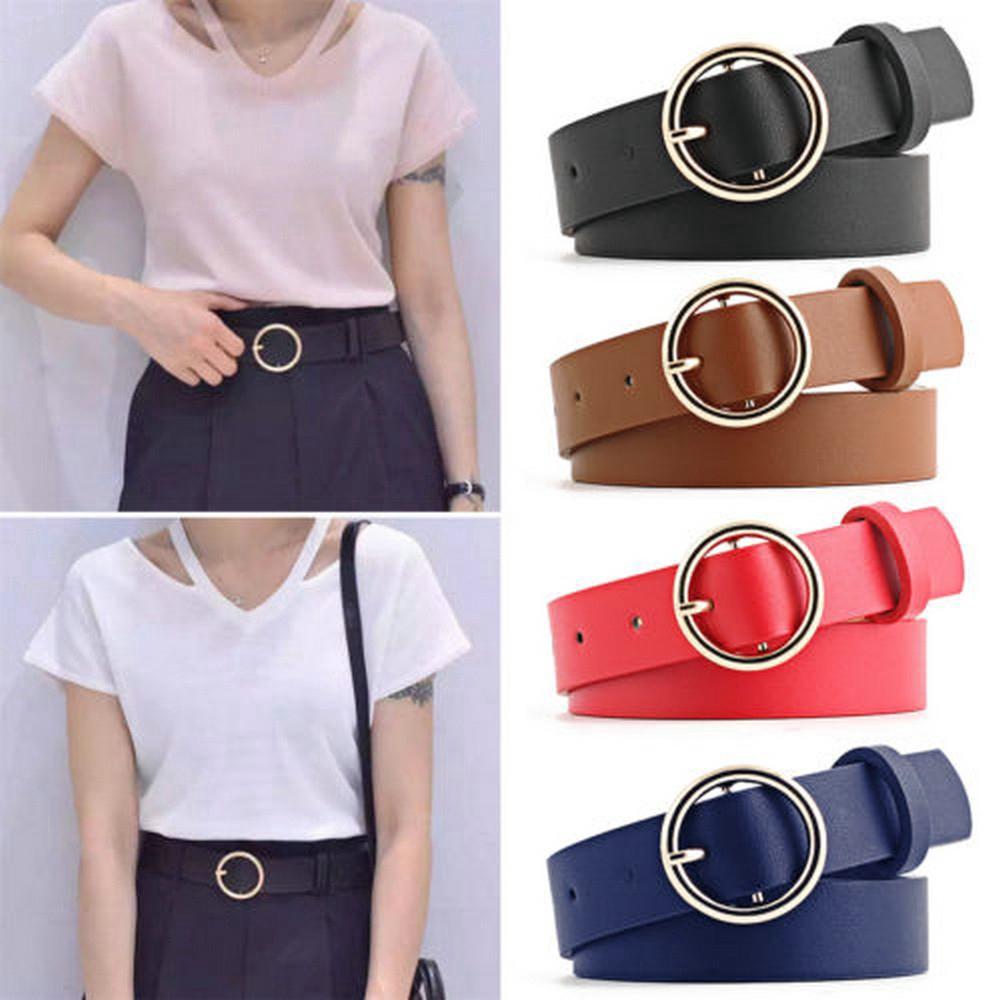 Thắt lưng da PU có khóa điều chỉnh 3 màu sắc thời trang tùy chọn dành cho nam và nữ
