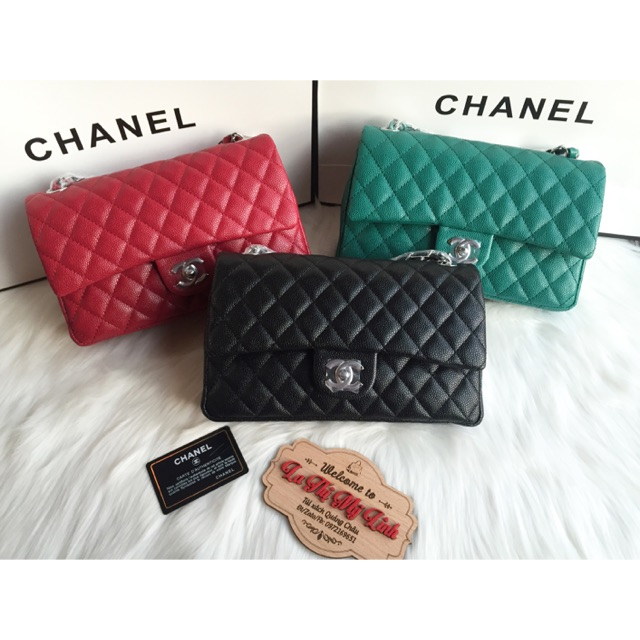 Túi Chanel Classic da sần xích bạc size 26