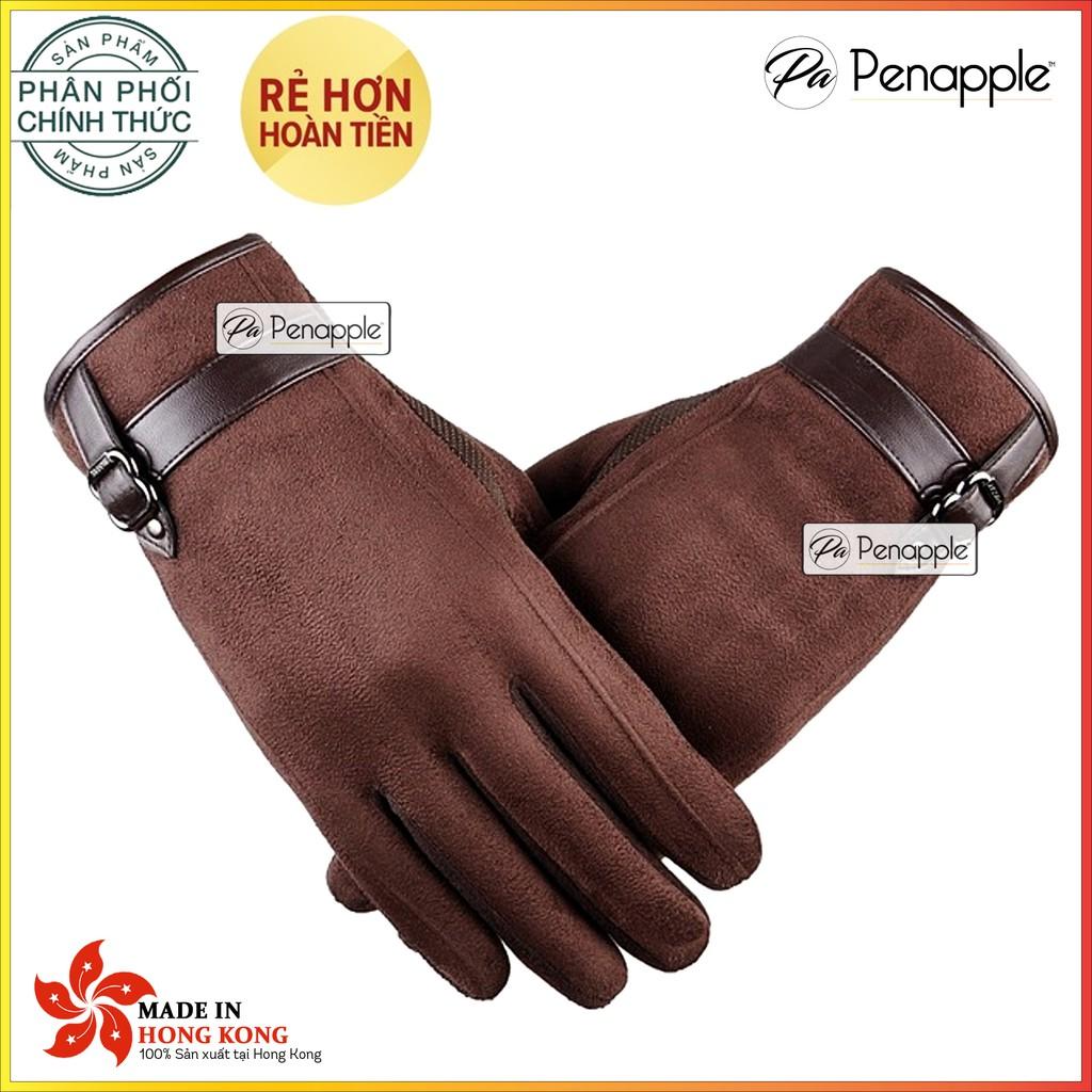 [FREESHIP - PENA0707 GIẢM 10%] - Găng tay da lộn cho Nam hỗ trợ sử dụng màn hình cảm ứng - Màu Nâu