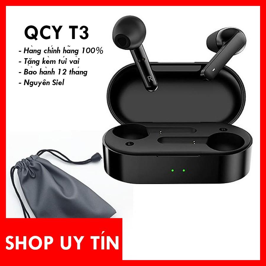Tai nghe Bluetooth True Wireless QCY T3 - Bảo hành 12 tháng - Hàng nguyên Seal