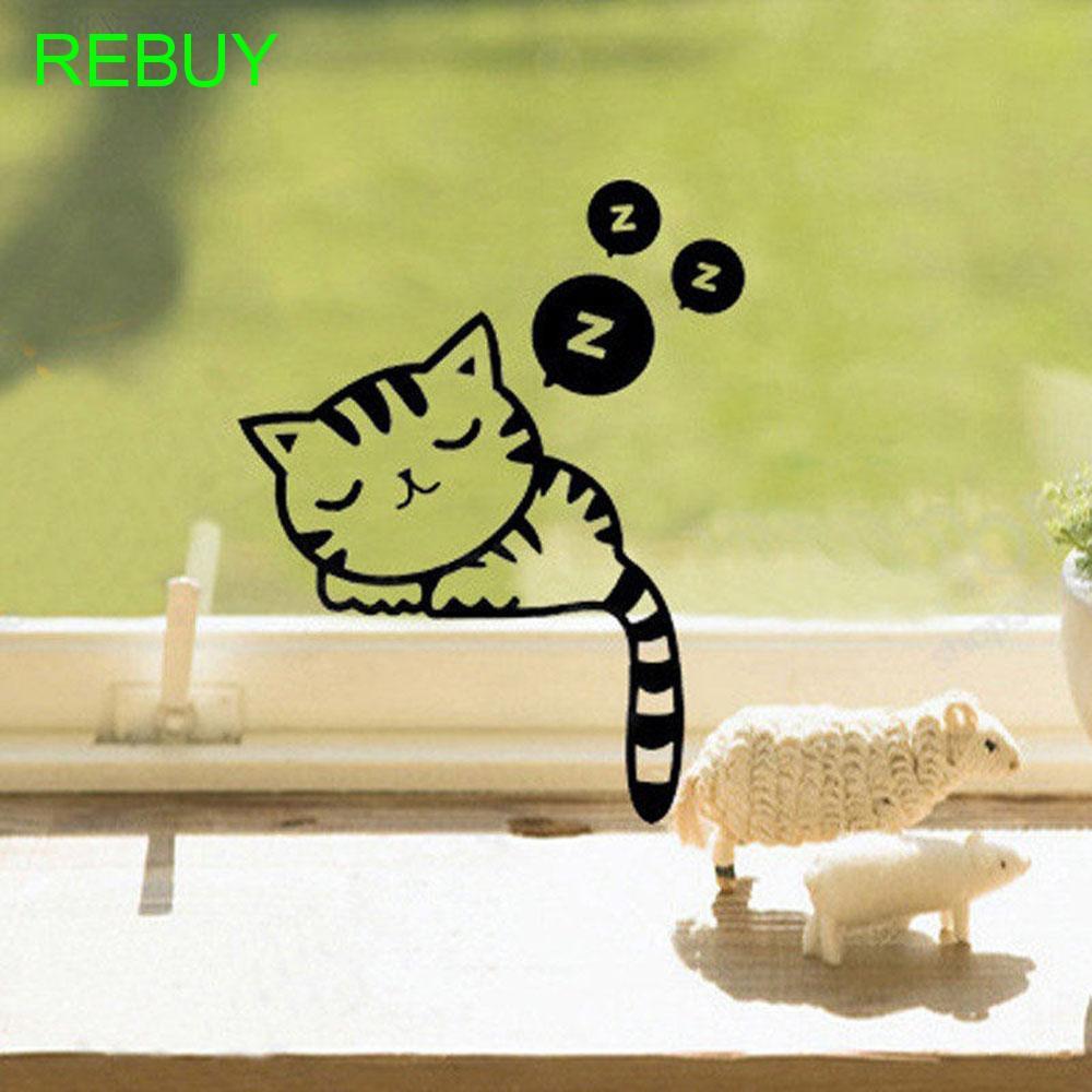 Miếng dán tường trang trí nội thất hình chú mèo đang ngũ đáng yêu 13 cm * 7 cm