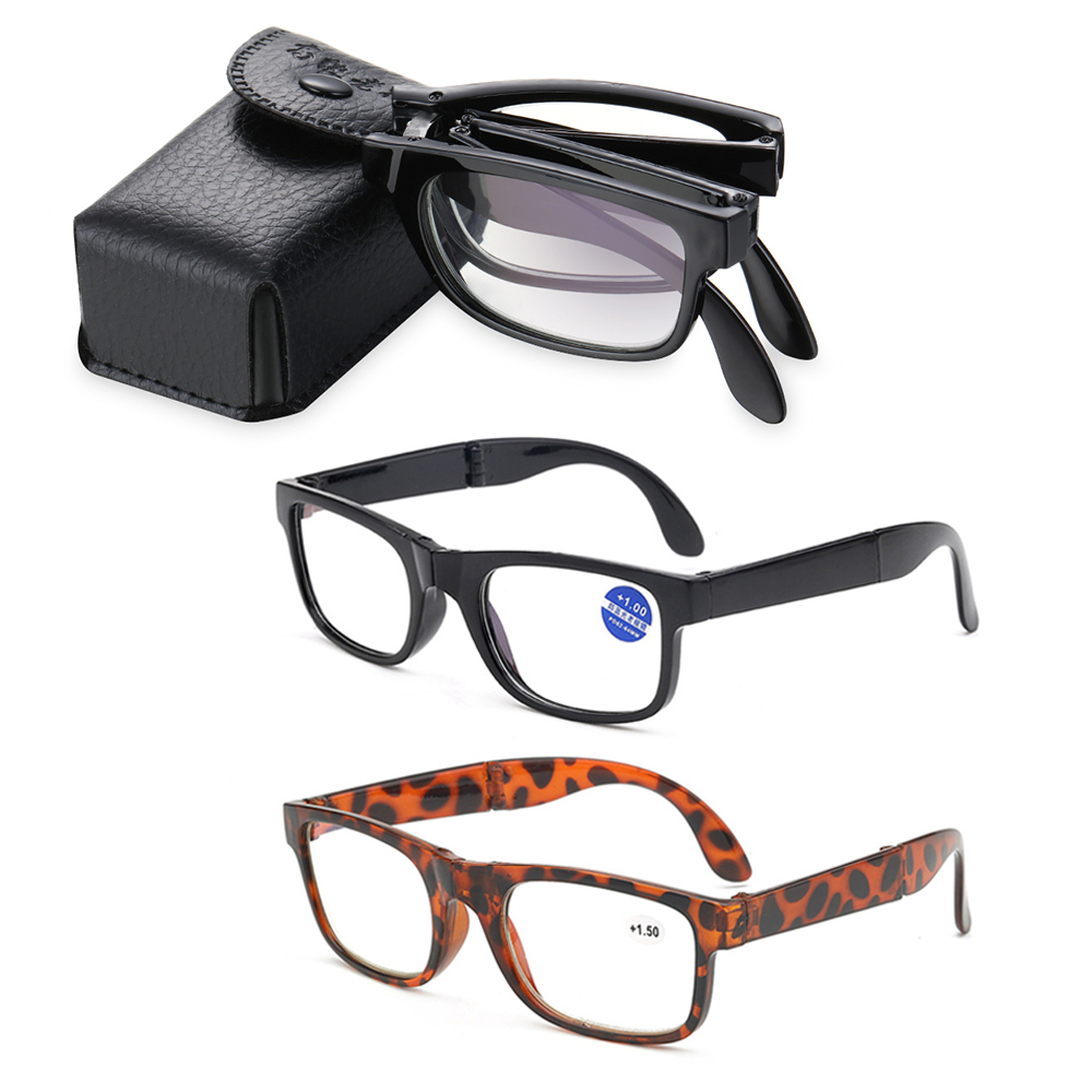 🌸EUTUS🌸 Unisex Folding Reading Glasses Portable Compact Reading Glasses Presbyopic Glasses Vision Care Anti Blue Light Diopter +1.0~4.0 Eyewear with...