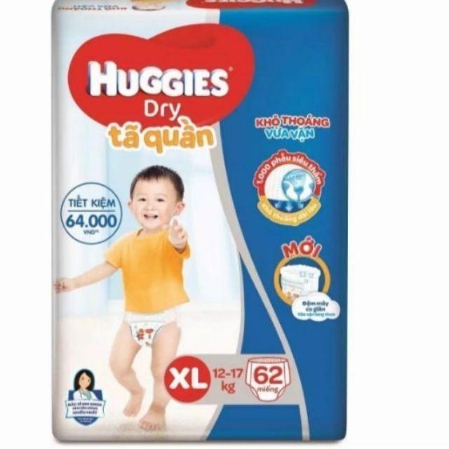 Tã quần huggies M74 L68 XL62 XXL56 mẫu mới