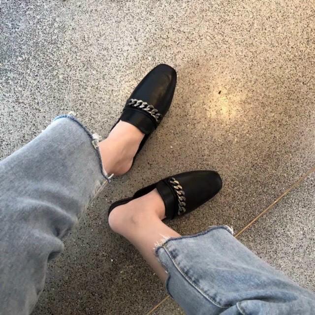 Dép Sục Nữ ♥️ FREESHIP♥️ Giày Sục Nữ Da Mềm Phụ Kiện Dây Xích Đẹp GN2