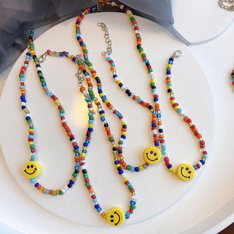Dây chuyền hạt diy nhiều màu họa tiết hình mặt cười đơn giản thời trang