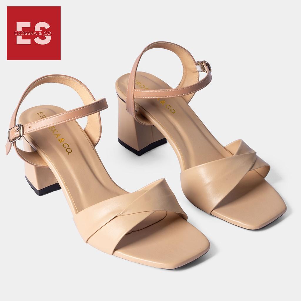 Sandal cao gót Erosska thời trang mũi vuông quai ngang bắt chéo cao 7cm màu bò - EB020