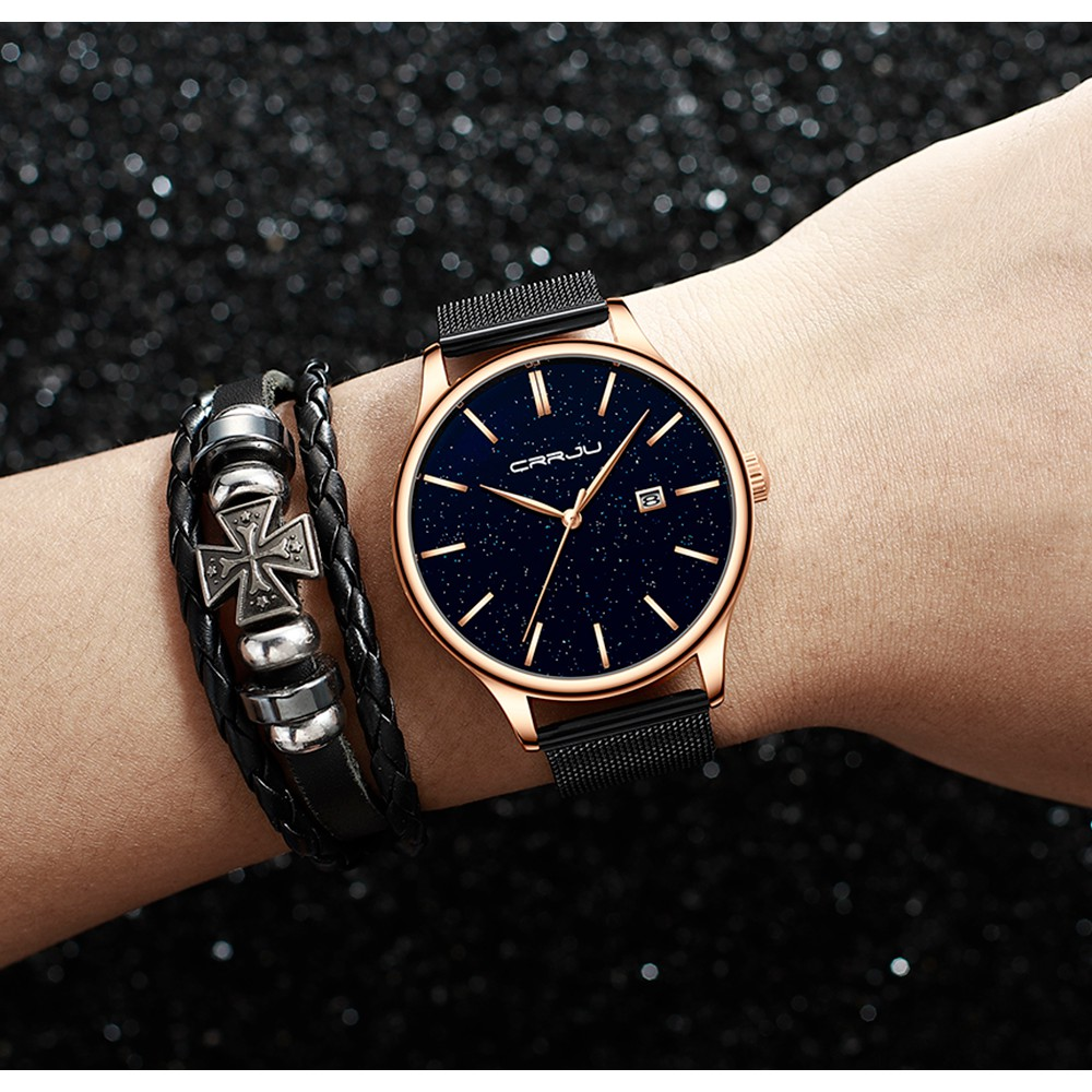 Đồng hồ đeo tay CRRJU 2267 máy thạch anh chất liệu thép không gỉ thời trang chống nước cho nam