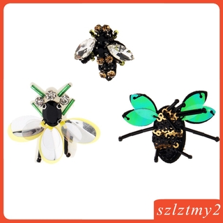 [galendale] 3 Pieces Bee Rhinestone Beaded Patch Sew on Embroidery Applique for Craft