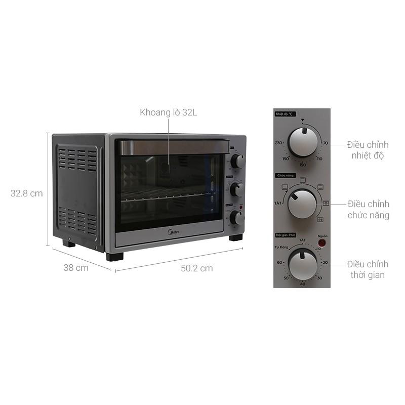 Lò nướng Midea MEO-38AZ15 382 lít nướng thịt, nướng gà, nướng cá và làm bánh (Bảo hành 12 tháng)