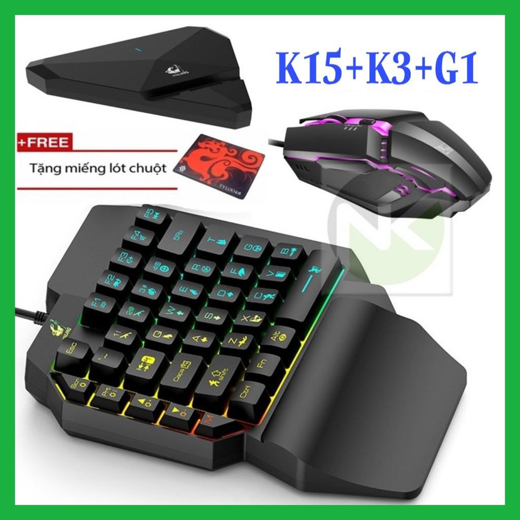 Combo Trọn Bộ Bàn Phím K15 + Chuột K3 + Hộp Chuyển Đổi G1 chơi game PUBG Mobile cho Android, IOS, iPad như PC - NK