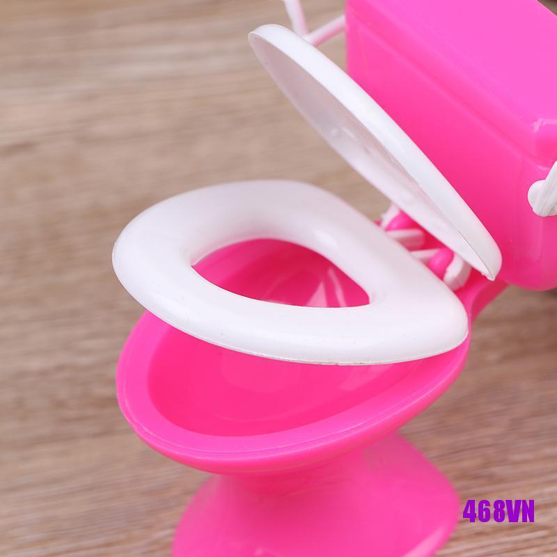 [DOU]Dollhouse Furniture Bathroom Toilet Doll House Miniature Baby Pretend Toys