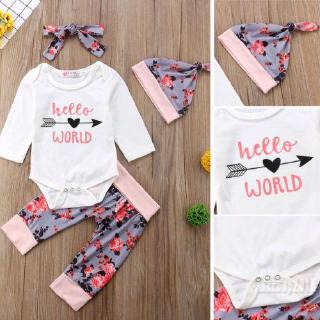 Mu♫-Hot 4Pcs Casual Cotton Clothes Newborn Kids Baby Girl Boy Romper Bodysuit Pants Set