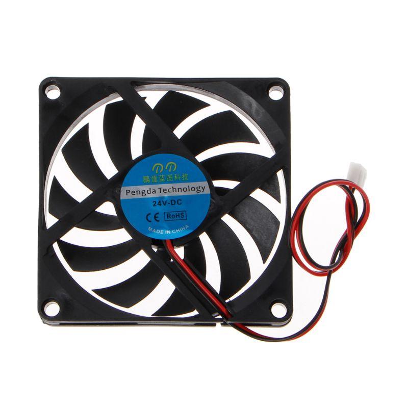 24V 2-Pin 80x80x10mm PC Computer CPU System Heatsink Brushless Cooling Fan 8010