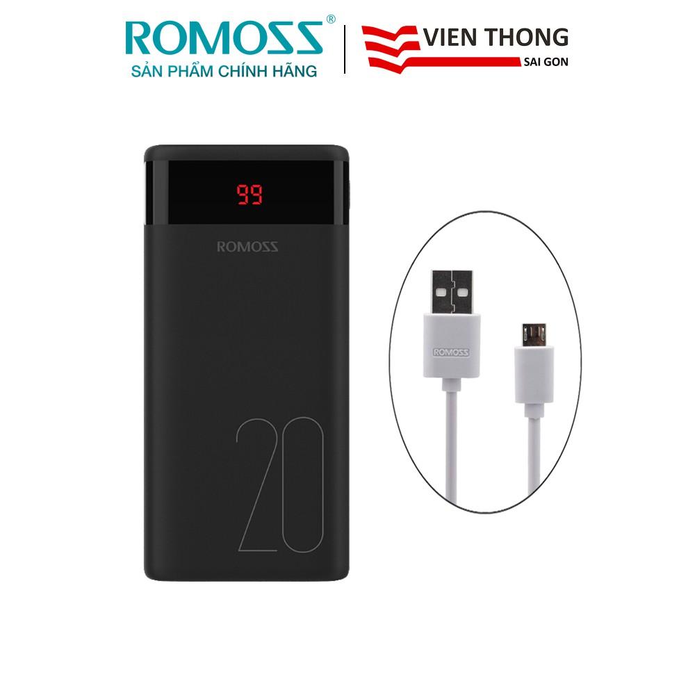 Pin sạc dự phòng Romoss Ares 20 20.000mAh tặng cáp micro USB tròn CB05 Romoss