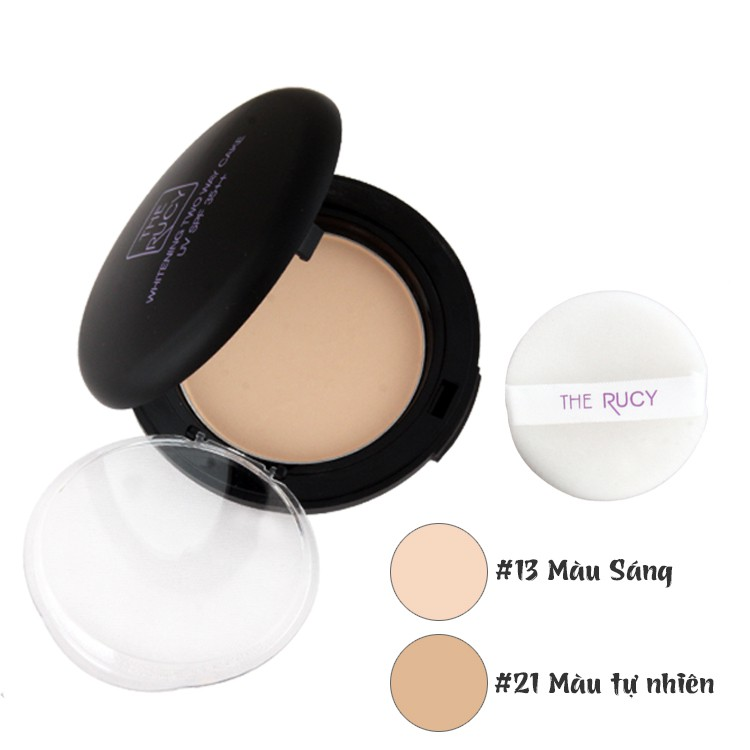 Phấn nén The Rucy Three in One Whitening Two Way Cake Màu Sáng 13g