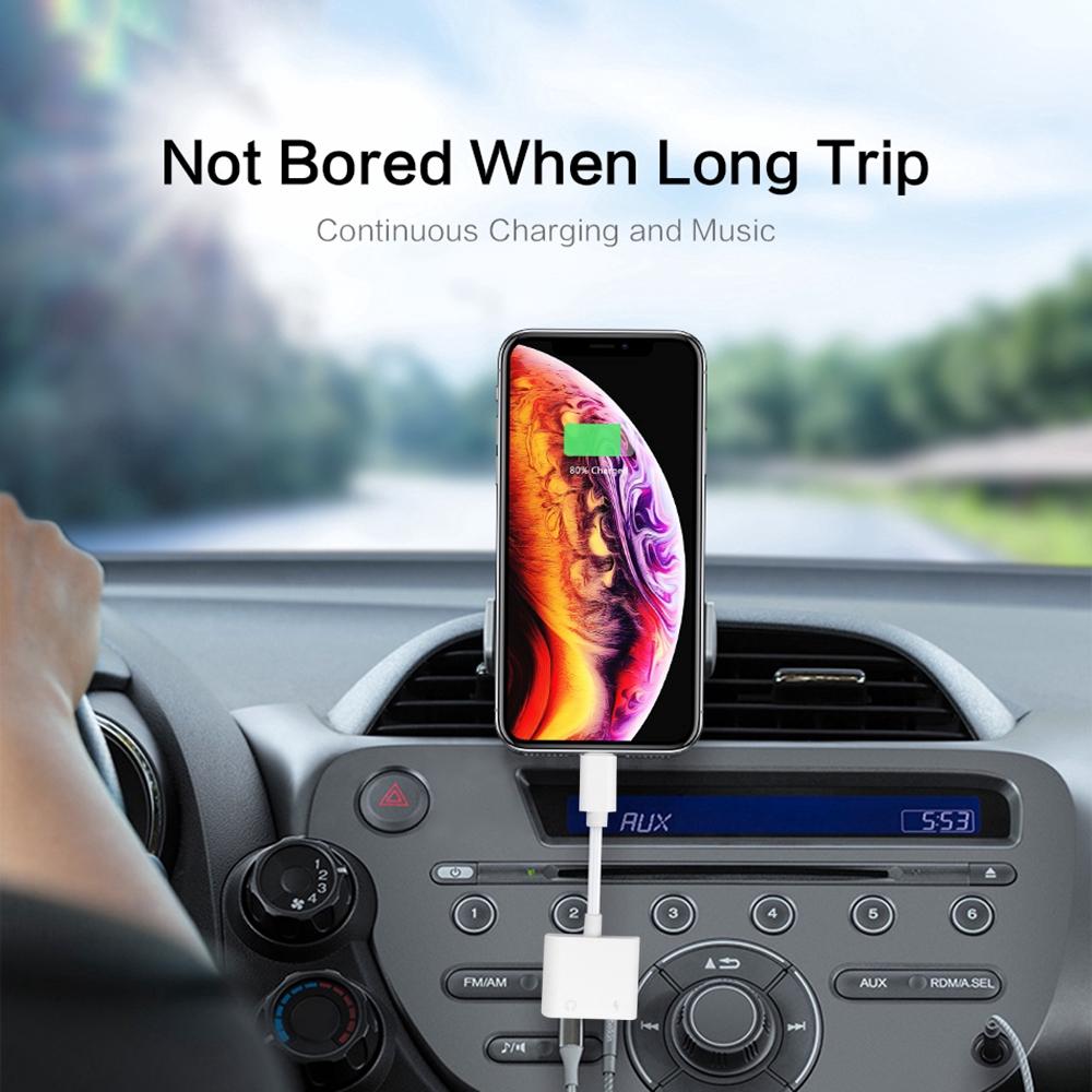 Thiết bị cắm chuyển đổi Lightning sang 3.5mm 2 trong 1 cho Iphone/Ipad