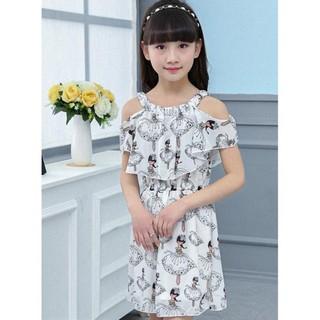 Đầm hở vai họa tiết công chúa cho bé gái từ 3 đến 14 tuổi DA-015