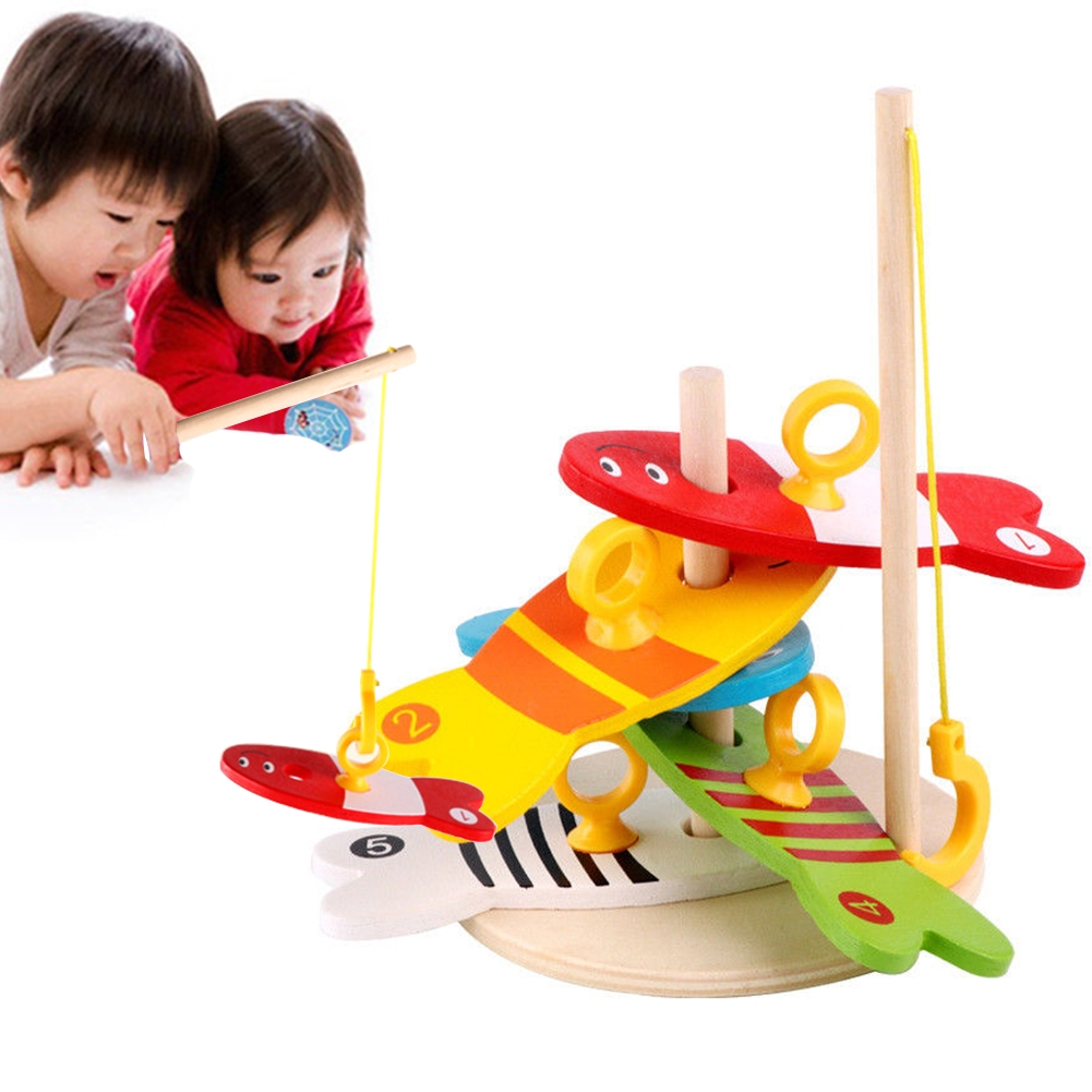 8pcs Outdoor Model Play Montessori Wooden Digital Column Ringtoss Fishing Toy For Children RFID Blocking Early Education