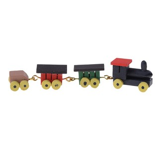 WHVN 1/12 Dollhouse ature Painted Wooden Toy Train Set spur