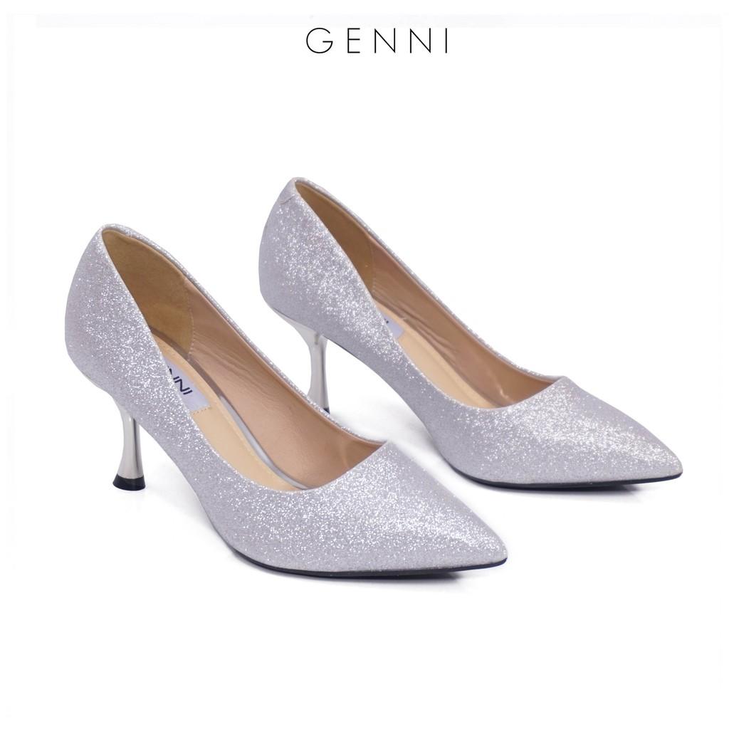 Giày cao gót kim tuyến gót cách điệu 5p GE422 - Genni