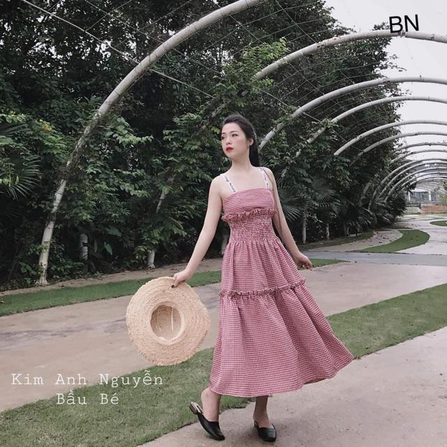 Váy maxi kẻ vai dây chữ B&N