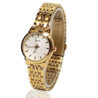 Đồng hồ nữ Halei dây vàng mặt trắng chống nước chống xước