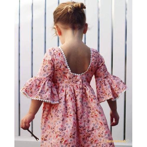 Đầm xoè phối hoa dễ thương cho bé gái