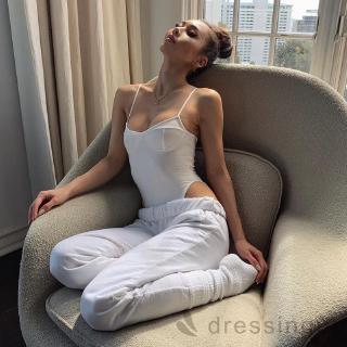 d❃♪Women´s Solid Color Italian Strap Sexy Slim Jumpsuit