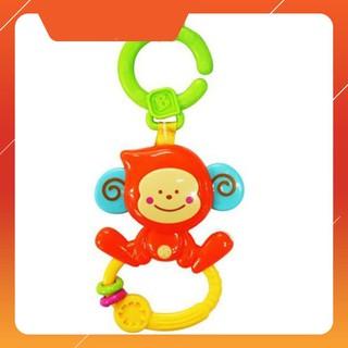 [Flash Sale] Chú khỉ tinh nghịch xúc xắc, gặm nướu kèm treo nôi cũi, xe đẩy – BPA Free B KIDS 004499
