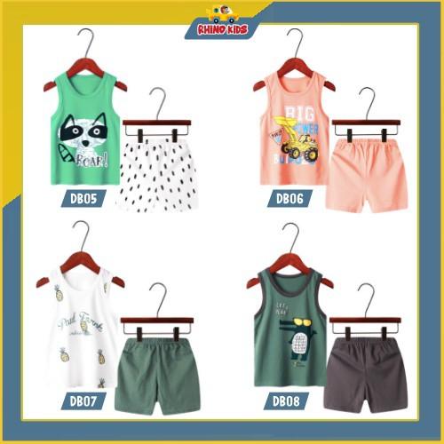 Bộ quần áo trẻ em ba lỗ mùa hè ,đồ bộ bé trai, bộ quần áo thun cho bé chất cotton hàng xuất Hàn Quốc DB05