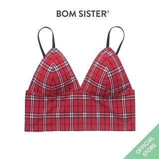 Áo lót mút mỏng cotton croptop không gọng thoải mái hoạ tiết caro nâng ngực tự nhiên BOM SISTER BR8824 thumbnail