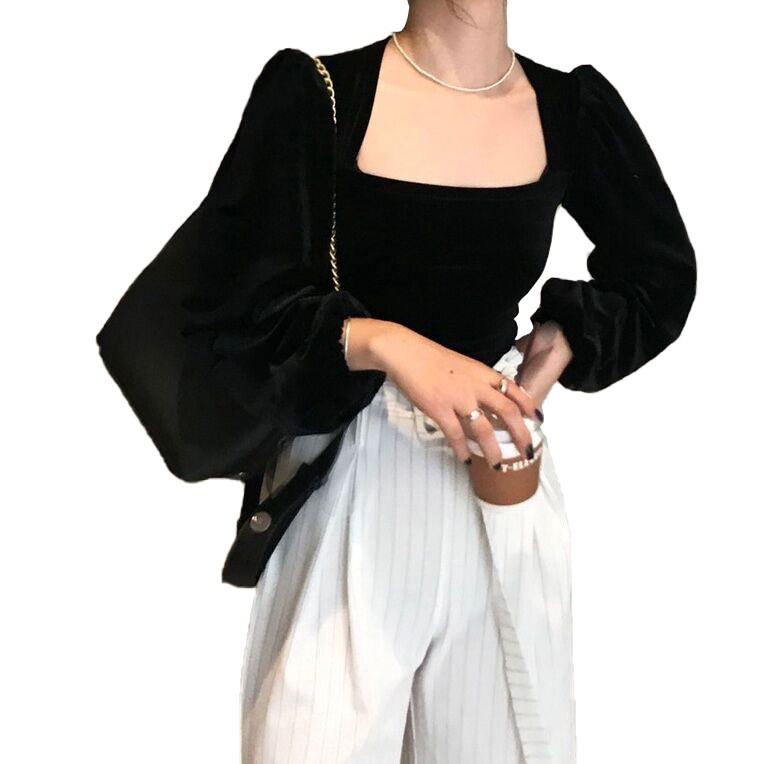 [Mã WACB21 hoàn 20% tối đa 50K xu đơn 99K] Áo kiểu cổ vuông tay phồng phong cách Hàn Quốc cho nữ