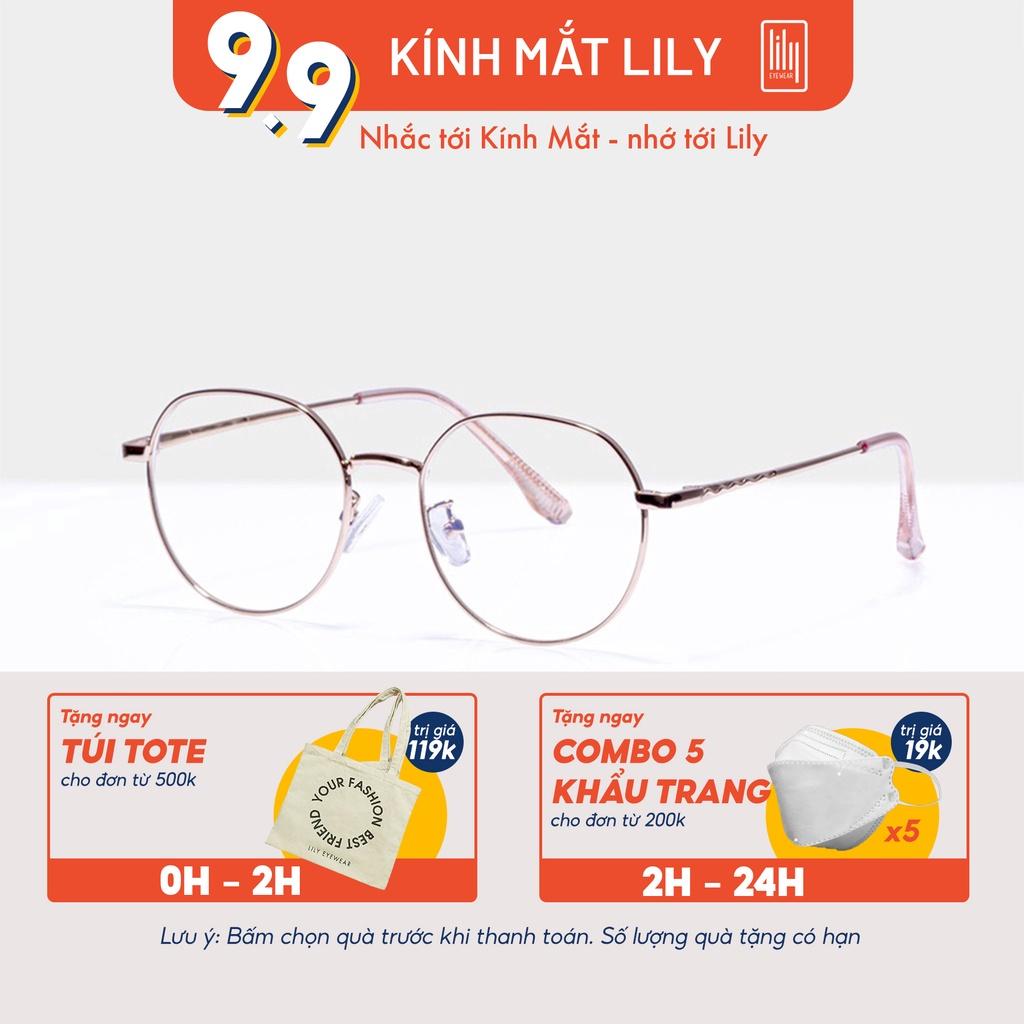 [Mã FARSBRV2 giảm 10% đơn 250K] Gọng kính cận nữ Lilyeyewear chất liệu kim loại thanh mảnh phù hợp khuôn mặt nhỏ 2919