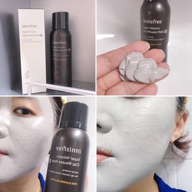 Mặt Nạ Đất Sét Dạng Xốp Innisfree Super Volcanic Pore Clay Mousse Mask 2X |  Shopee Việt Nam