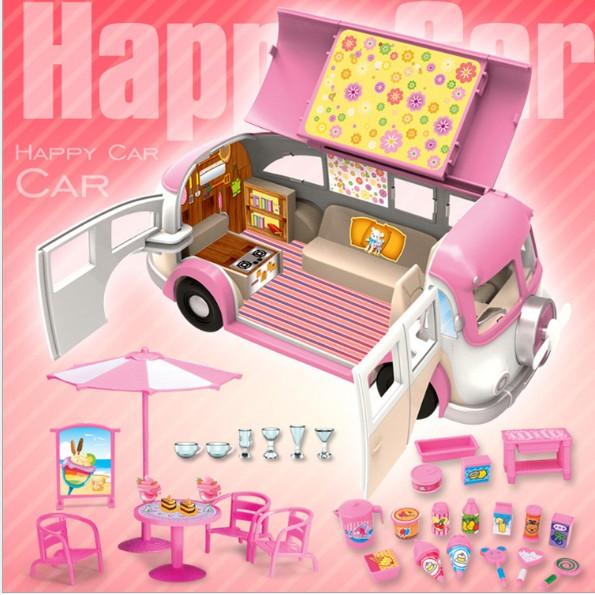 Bộ mô hình xe bus bán kem di động màu hồng cho bé chơi búp bê