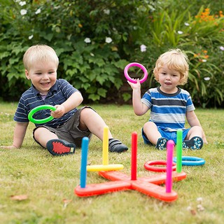Baby Kid Hoop Ring Ring Toss Quoits Garden Game Pool Toy Pegs Ropes Hoopla Famil