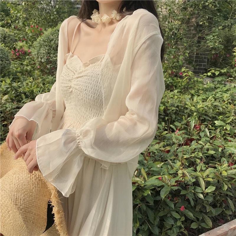 Áo khoác Cardigan nữ voan mỏng dáng ngắn, tay loe phong cách Retro hợp thời trang
