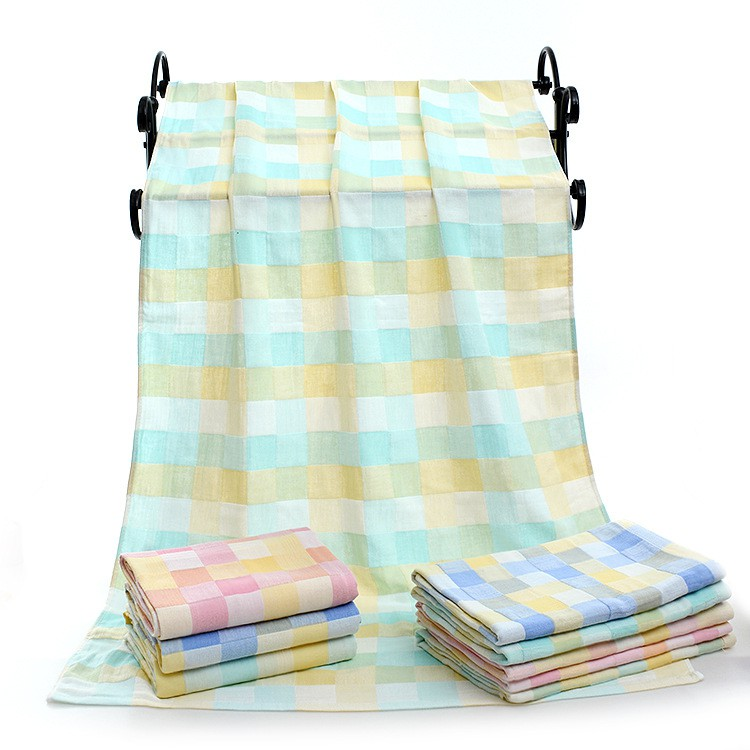 Cotton Double-layer Quick-drying Bath Towel Baby Hold Blanket 70*1