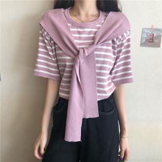 price short new Real lace top loose versatile shot up T-shirt shawl real thin summer sleeve stripe