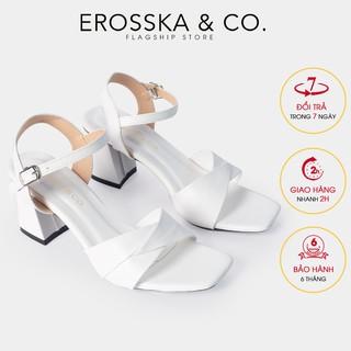 Giày sandal cao gót Erosska mũi vuông quai ngang bắt chéo cao 7cm màu bò - EB020