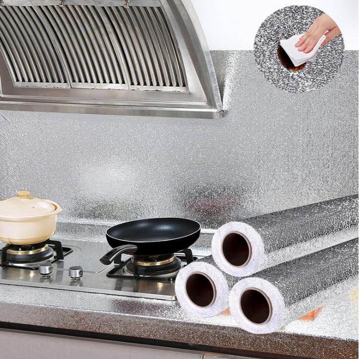 [FREESHIP] Cuộn giấy bạc dán bếp cách nhiệt, decal dán tường nhà bếp chống thấm bền đẹp (3 mét khổ 60cm)