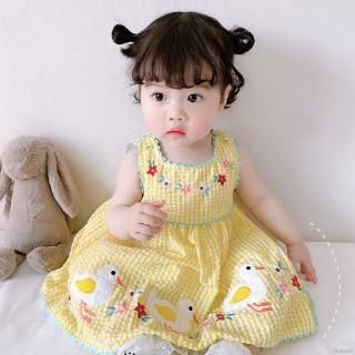 Đầm công chúa họa tiết thêu chú vịt hoạt hình thời trang 2020 đáng yêu dành cho bé gái