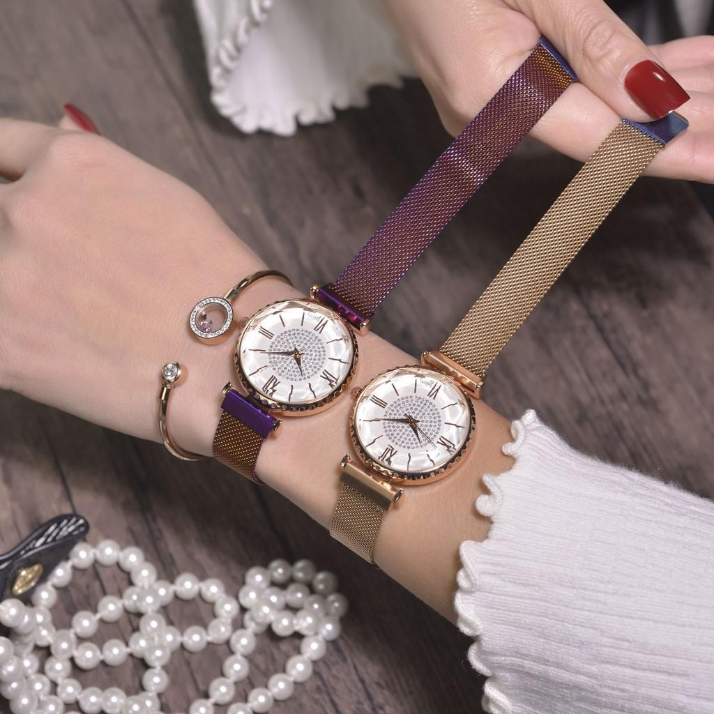 Đồng hồ nữ GOGOEY G426 mặt số la mã size 32mm dây thép lụa khóa từ độc đáo
