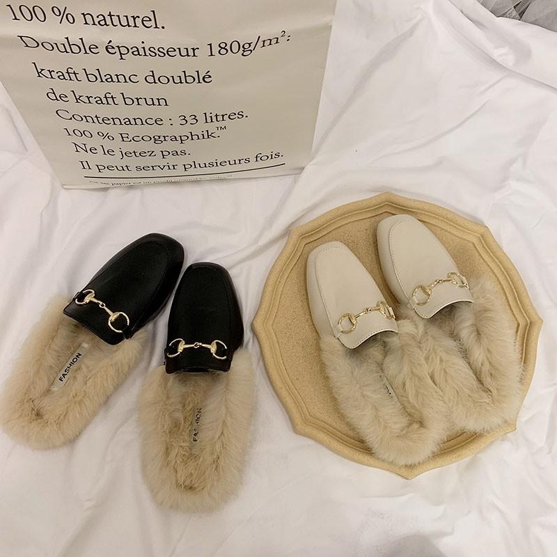 Dép lông cừu phụ nữ mang mùa thu và mùa đông Giày Muller 2019 mới giày lười màu đỏ đế phẳng lông thỏ Baotou một nửa dép