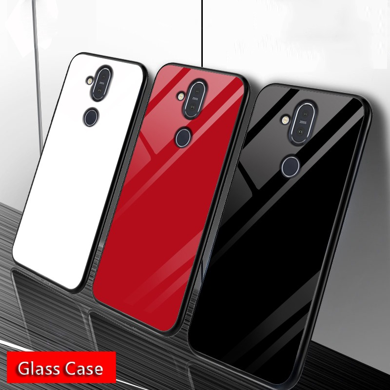 Nokia X7 8.1 X6 6.1 Plus 7 Plus Phone Case Tempered Glass Cover Soft TPU Frame