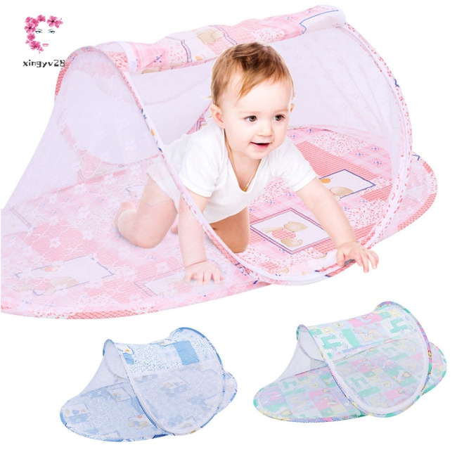 Portable Multi-Function Cartoon Cradle Shape Zipper Mosquito Net for Infant Baby